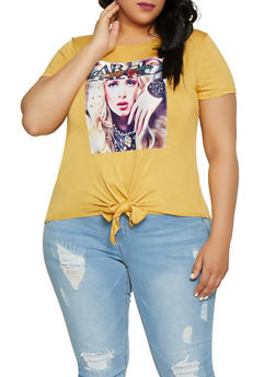 Plus Size Studded Model Patch Tee - 8427074791450