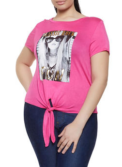 Plus Size Classic Rock Graphic Tie Front Tee - 8427074791451