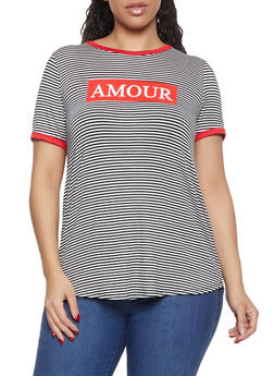 Plus Size Amour Striped Tee - 8427074793939