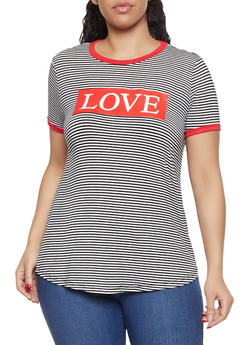Plus Size Love Graphic Striped Tee - 8427074793940