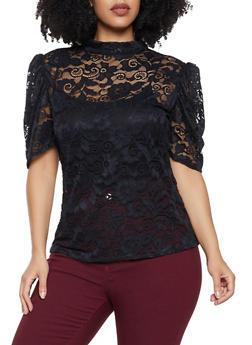 Plus Size Bubble Sleeve Lace Top - 8428020620382