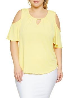 Plus Size Keyhole Cold Shoulder Top - 8428020621975
