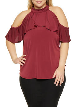 Plus Size Ruffled Cold Shoulder Top - 8428020622376