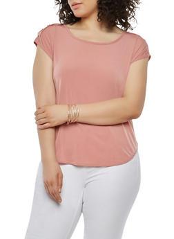 Plus Size Button Tab Shoulder Top - 8428020622556