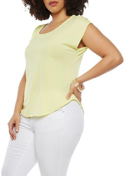 Plus Size Button Tab Shoulder Top - 8428020622556