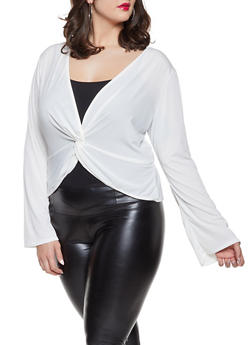 Plus Size Knot Front Top - 8428020622579