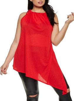 Plus Size Asymmetrical Sleeveless Top - 8428020622879