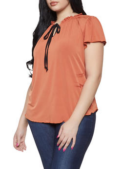 Plus Size Tie Neck Blouse - 8428020623338