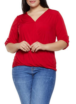 Plus Size Faux Wrap Tabbed Sleeve Top - 8428020624795