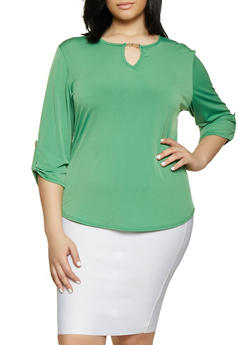 Plus Size Metallic Keyhole Tabbed Sleeve Top - 8428020625649