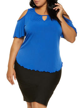 Plus Size Cold Shoulder Keyhole Top - 8428020625778