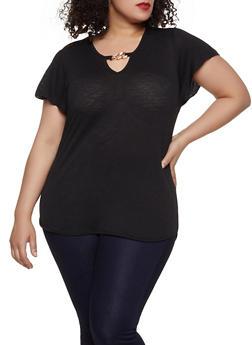 Plus Size Black V-Neck