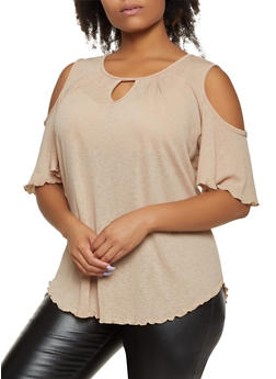 Plus Size Keyhole Cold Shoulder Top - 8428020627725