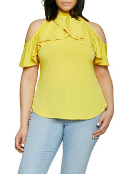 Plus Size Ruffled Cold Shoulder Top | 8428020628225 - 8428020628225