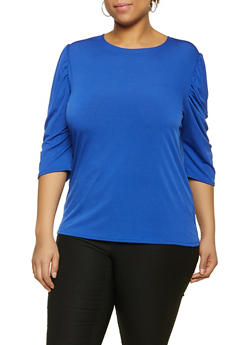 Plus Size Ruched Quarter Sleeve Top - 8428020628335