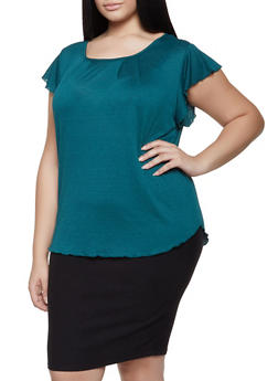 Plus Size Flutter Sleeve Top - 8428020628732