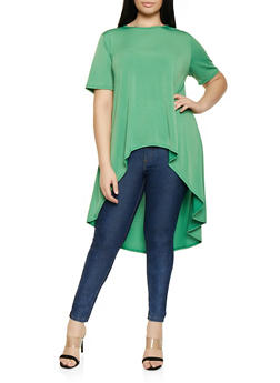 Plus Size Short Sleeve High Low Tee - 8428020628735