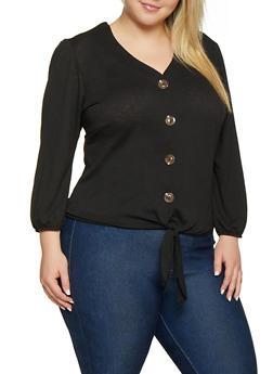Plus Size Button Tie Front Top - 8428020628975