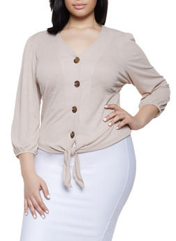 Plus Size Button Tie Front Top - 8428020628975