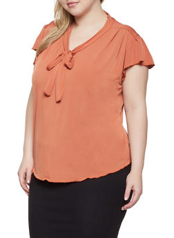 Plus Size Flutter Sleeve Tie Neck Blouse - 8428020629756