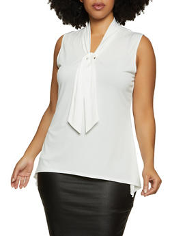 Plus Size Tie Neck Sleeveless Top - 8428020629976