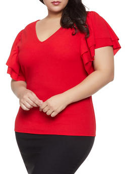 Plus Size Ruffle Sleeve Top - 8428062129103