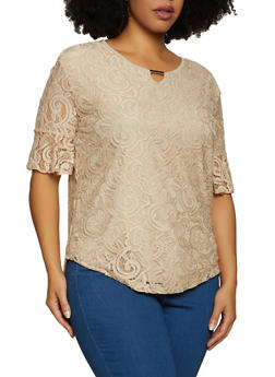 Plus Size Keyhole Lace Top - 8428062701250