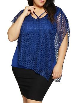 Plus Size Asymmetrical Lace Top - 8428062702355