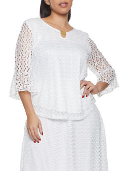 Plus Size Bell Sleeve Lace Top - 8428062702357