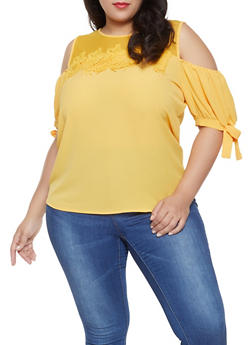 Plus Size Tie Sleeve Cold Shoulder Top - 8428062702563