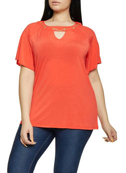 Plus Size Threaded Chain Detail Top - 8428062702668