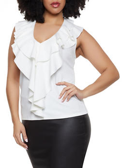 Plus Size Ruffle V Neck Top - 8428062702744