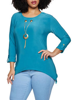 Plus Size Threaded Neckline Top - 8428062703029