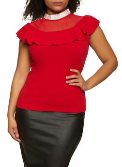 Plus Size Rhinestone Mock Neck Top - 8428062703079