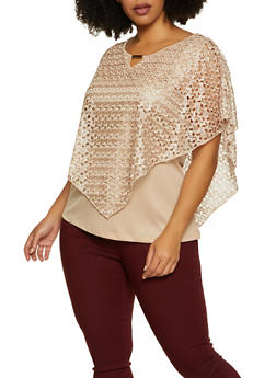 Plus Size Crochet Overlay Keyhole Top - 8428062703296