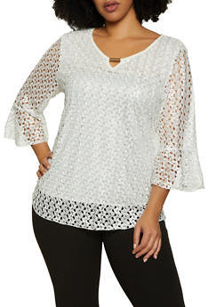 Plus Size Keyhole Bell Sleeve Lace Top - 8428062703357
