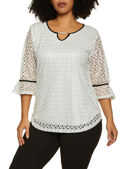 Plus Size Contrast Trim Lace Top - 8428062704296