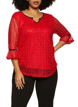 Plus Size Contrast Trim Lace Top - 8428062704296