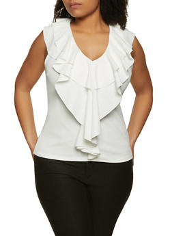 Plus Size Ruffled Crepe Knit Top - 8428062704744