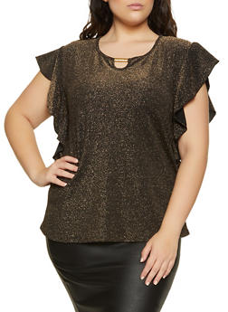 Plus Size Lurex Keyhole Detail Top - 8428062705352