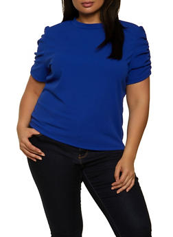 Plus Size Shirred Short Sleeve Top - 8428062705541