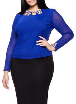 Plus Size Long Sleeve Rhinestone Detail Mesh Top - 8428062706598