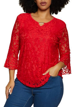 Plus Size Bell Sleeve Keyhole Lace Top - 8428062706900