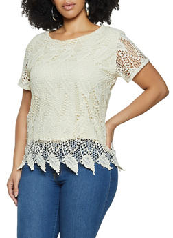 Plus Size Crochet Short Sleeve Top - 8428064460107