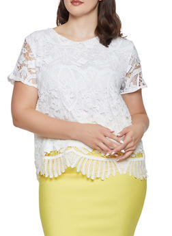 Plus Size Short Sleeve Crochet Top - 8428064461095