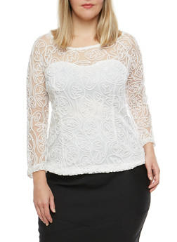 Plus Size Embroidered Mesh Top - 8428064464049