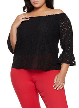 Plus Size Crochet Off the Shoulder Bell Sleeve Top - 8428064465388