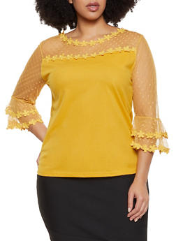 Plus Size Lace Bell Sleeve Blouse - 8428064465947