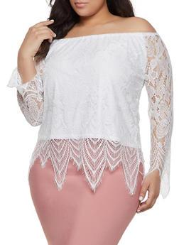 Plus Size Off the Shoulder Frayed Hem Crochet Top - 8428064467492