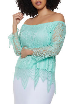 Plus Size Off the Shoulder Frayed Hem Crochet Top - 8428064467492